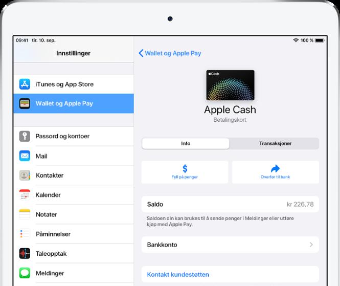 Informasjonsskjermen for AppleCash-kortet. Saldoen vises øverst til høyre.