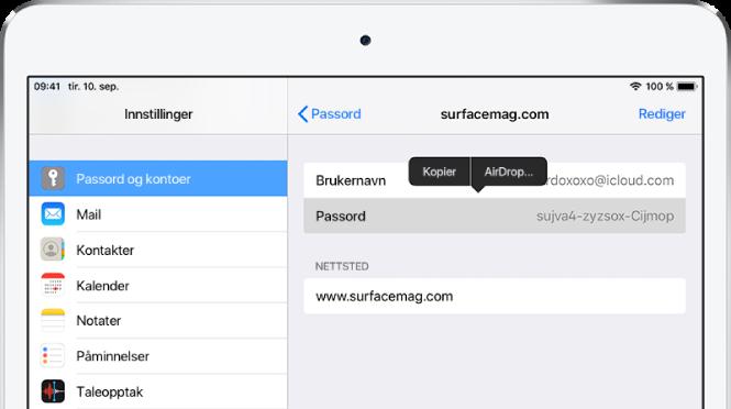 Passord og kontoer-skjermen for et nettsted. Passorddelen er markert, og en meny med kommandoene Kopier og AirDrop vises over den.