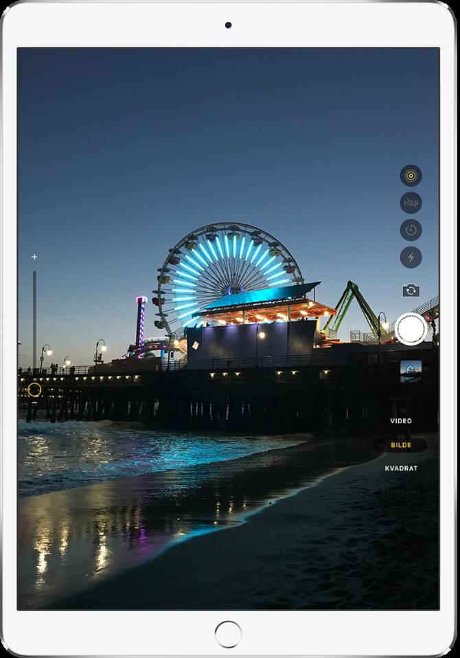 Et bilde på Kamera-skjermen tatt med iPadPro(9,7-tommer). Utløserknappen er til høyre, sammen med knapper for å bytte mellom kameraer og for å velge bildemodus.