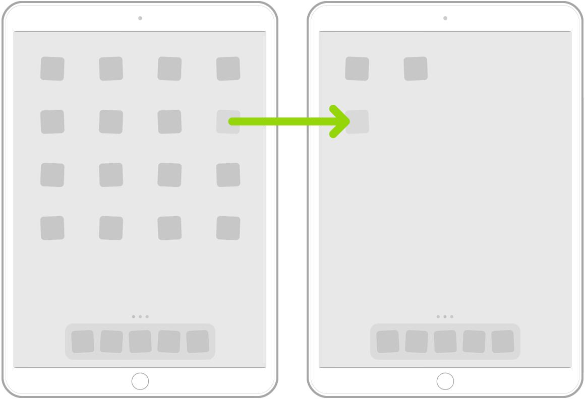 Skjelvende apper på Hjem-skjermen med en pil som viser en app som flyttes til neste side.