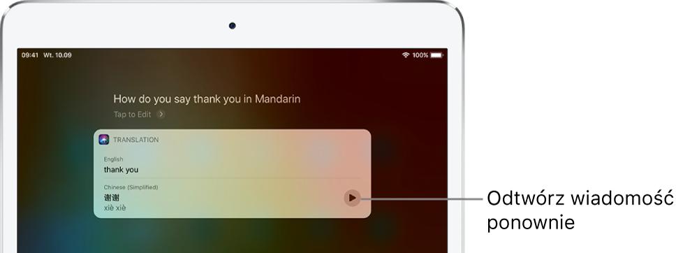 """Odpowiedź Siri na pytanie """"hał du ju sej fenk ju in mandarin?"""". Siri wyświetla tłumaczenie angielskiego wyrażenia """"fenk ju"""" na język mandaryński. Przycisk zprawej strony tłumaczenia pozwala usłyszeć je ponownie."""