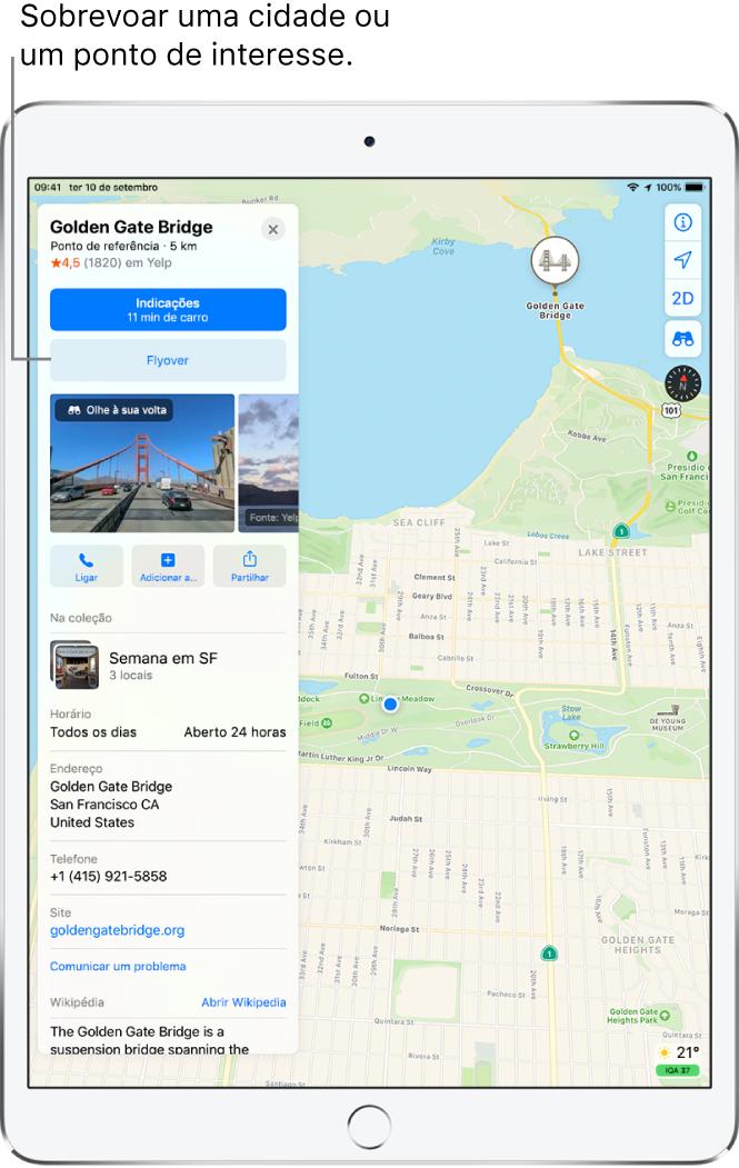 Um mapa de São Francisco. Na parte esquerda do ecrã, uma ficha de informações da Ponte Golden Gate mostra um botão de Flyover por baixo de um botão Indicações.