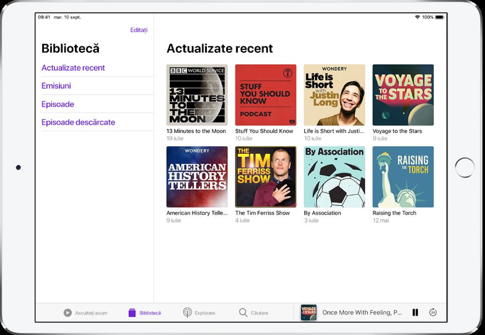 Fila Bibliotecă afișând podcasturile actualizate recent.