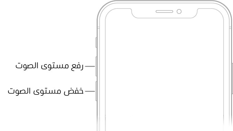 الجزء العلوي من واجهة الـiPhone حيث يظهر زرا رفع مستوى الصوت وخفض مستوى الصوت في أعلى اليسار.