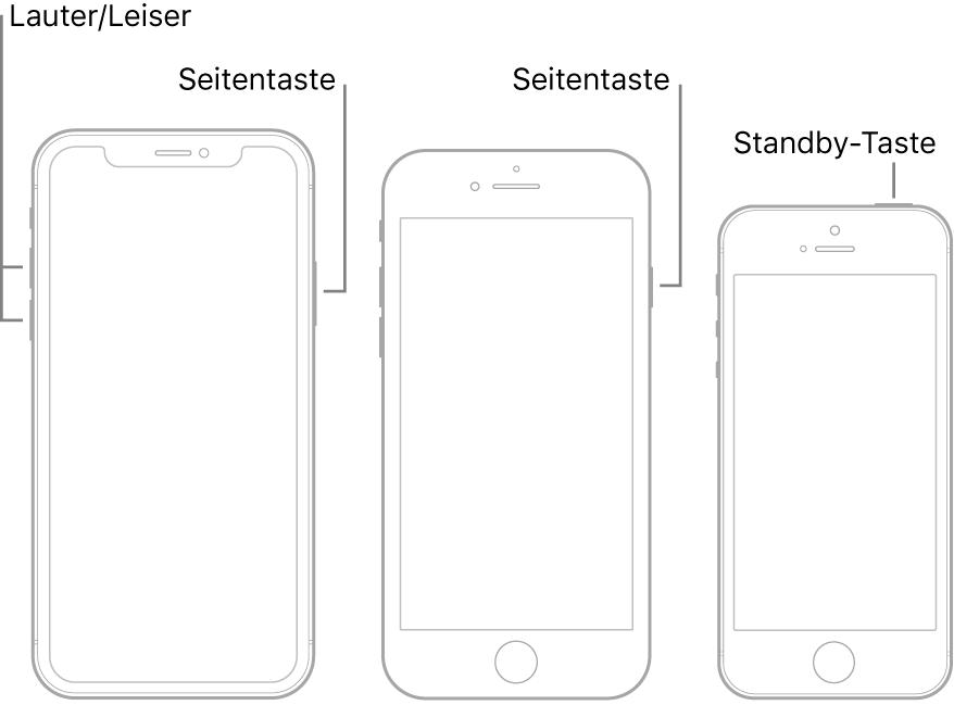"""Darstellungen dreier iPhone-Modelle jeweils mit dem Bildschirm nach oben. Die Darstellung links zeigt die Lautstärketasten """"Leiser"""" und """"Lauter"""" an der linken Geräteseite. Die Seitentaste ist rechts zu sehen. Bei der Darstellung in der Mitte ist die Seitentaste an der rechten Geräteseite zu sehen. Bei der Darstellung rechts ist die Standby-Taste an der oberen Geräteseite zu sehen."""