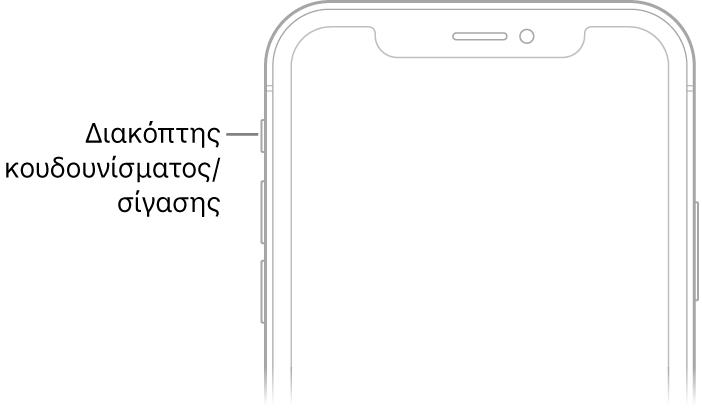Το πάνω τμήμα της πρόσοψης του iPhone με μια επεξήγηση που δείχνει στον διακόπτη Κουδουνίσματος/Σίγασης.