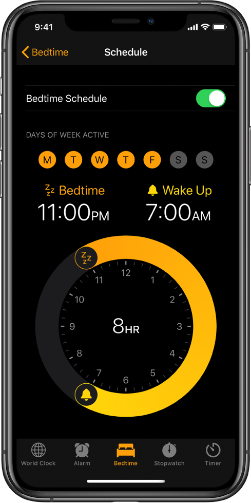 The Bedtime button is selected in the Clock app, showing the sleep time starting at 11:00 p.m. and the wake time set at 7:00 a.m.
