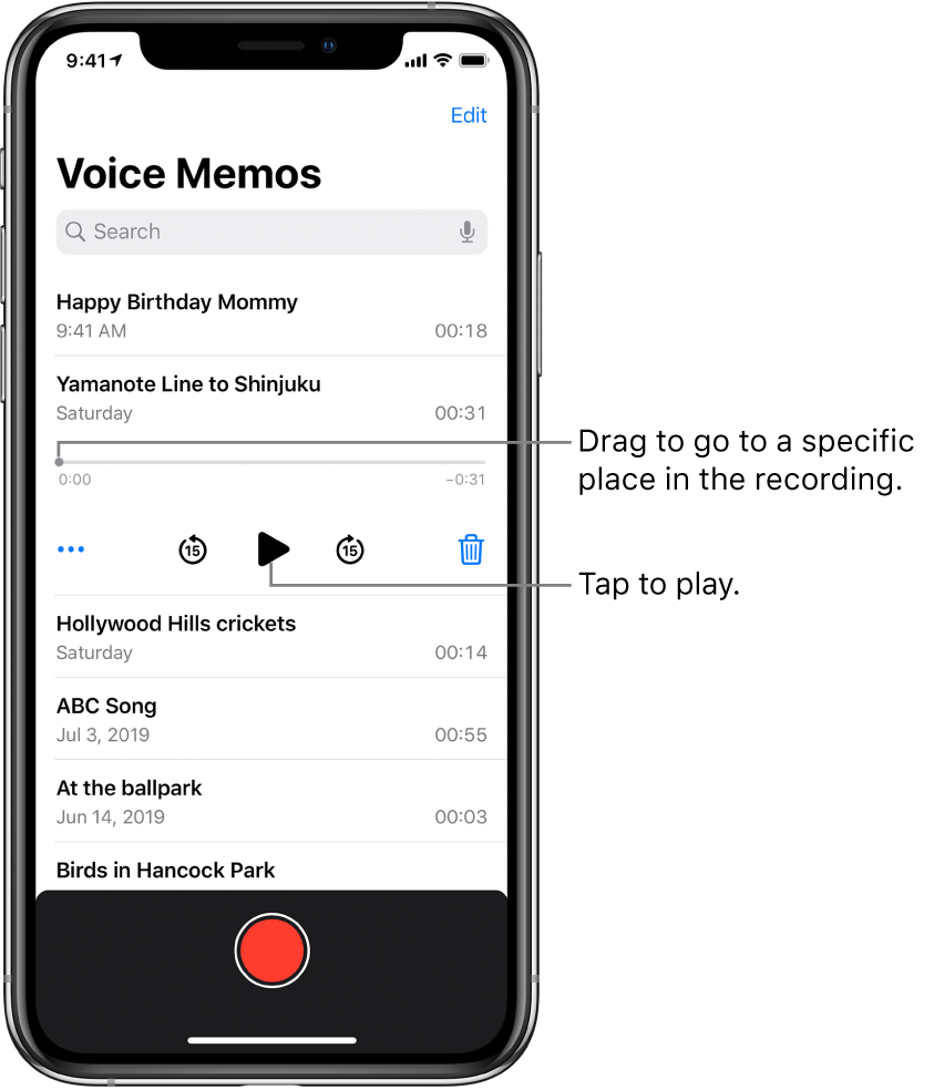 The Voice Memos list screen with a selected recording at the top. The recording timeline has a playhead, and beginning and end times at either end. Below the timeline are the More button, which you can tap to edit, duplicate, or share a recording, the skip back 15s button, the play button, the skip forward 15s button, and the delete button. Below these controls is a list of recordings that can be opened with a tap.