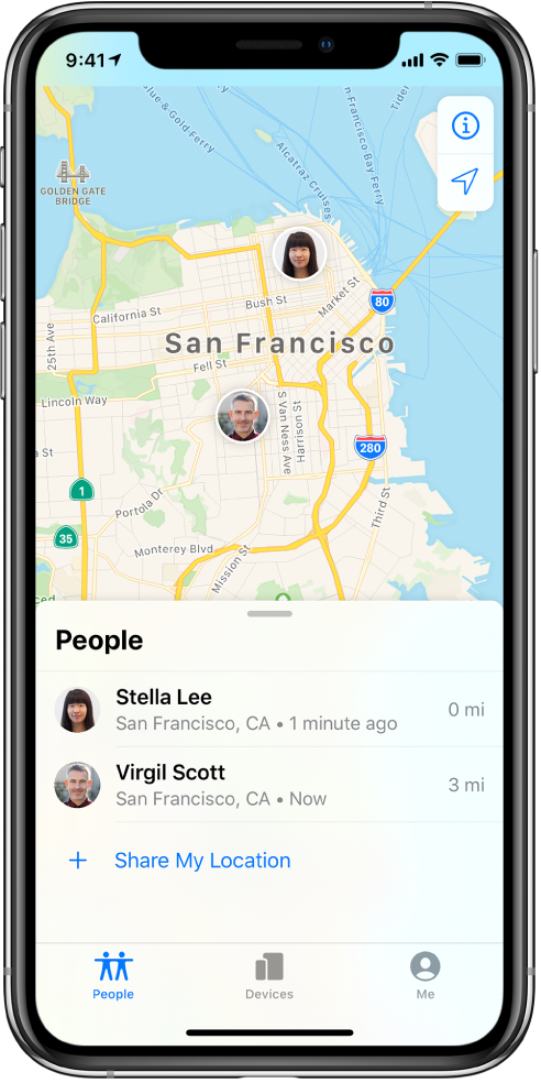 There are two friends in the People list: Stella Lee and Virgil Scott. Their locations are shown on a map of San Francisco.