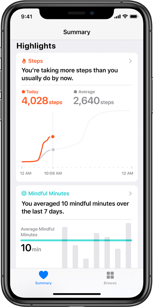 "The Summary screen in the Health app showing highlights for steps taken that day. The highlight reads, ""You're taking more steps than you usually do by now."" A chart below the highlight shows 4,028 steps taken so far today, compared to 2,640 steps for the same time yesterday. Below the chart is information about mindful minutes spent. The Summary button is at the lower left, and the Browse button is at the lower right."