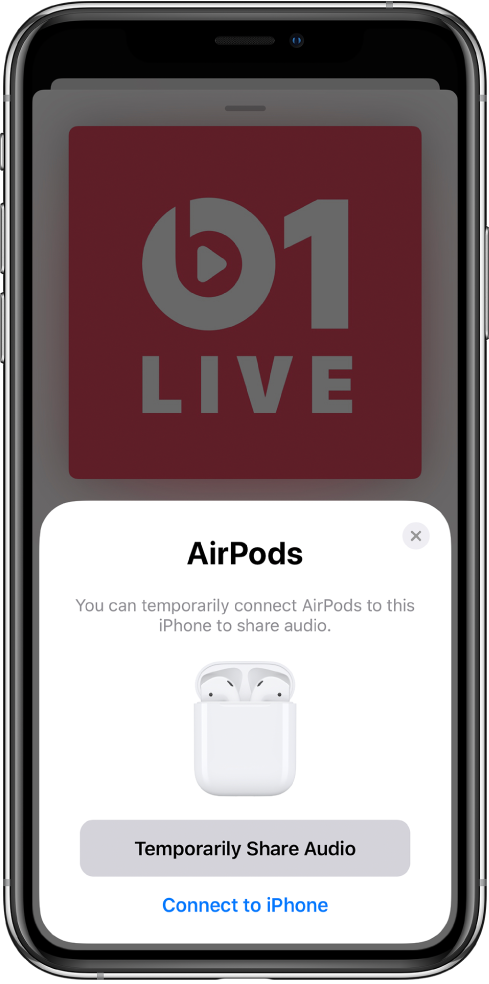 An iPhone screen with a picture of AirPods in an open charging case. Near the bottom of the screen is a button to temporarily share audio.