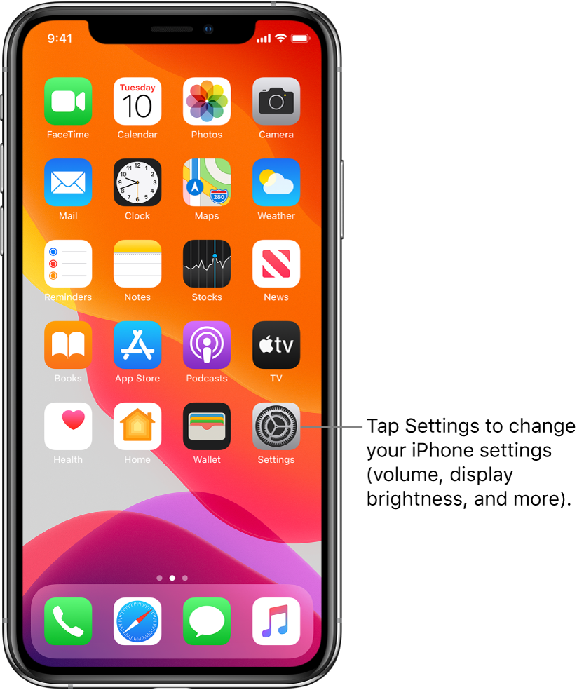 The Home screen with several icons, including the Settings icon, which you can tap to change your iPhone sound volume, screen brightness, and more.