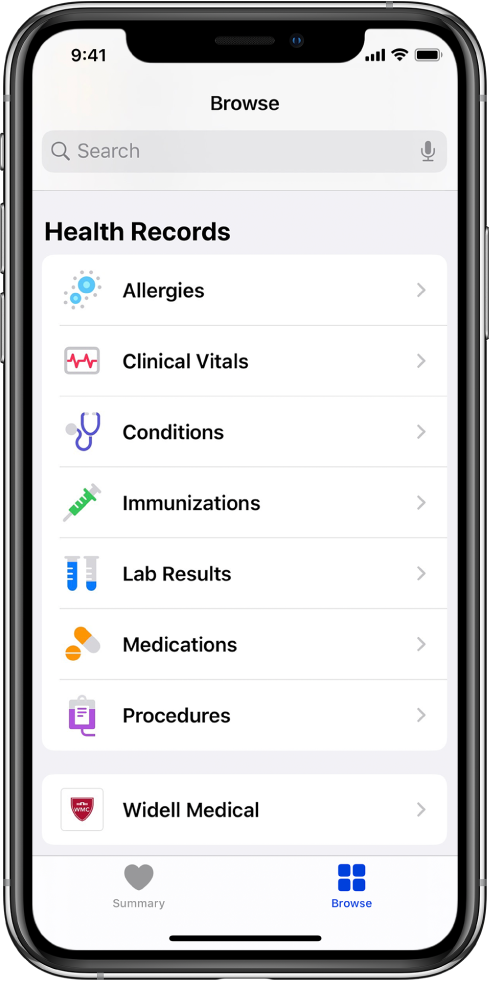 The Health Records screen in the Health app. The screen lists categories that include Allergies, Clinical Vitals, and Conditions. Below the list of categories is a button for Widell Medical. At the bottom of the screen, the Browse button is selected.
