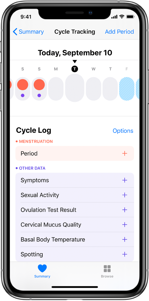 The Cycle Tracking screen showing the timeline for a week at the top of the screen. Solid red circles mark the first three days, and the last two days are light blue. Below the timeline are options to add information about periods, symptoms, and more.