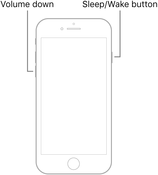 An illustration of iPhone 7 with the screen facing up. The volume down button is shown on the left side of the device, and the Sleep/Wake button is shown on the right.