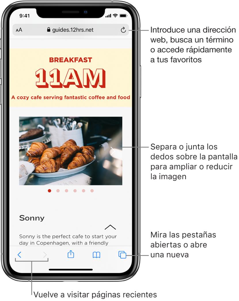 Sitio web abierto en una ventana de Safari con el campo de dirección en la parte superior. En la parte inferior, de izquierda a derecha, se encuentran los botones Atrás, Adelante, Compartir, Marcadores y Páginas.