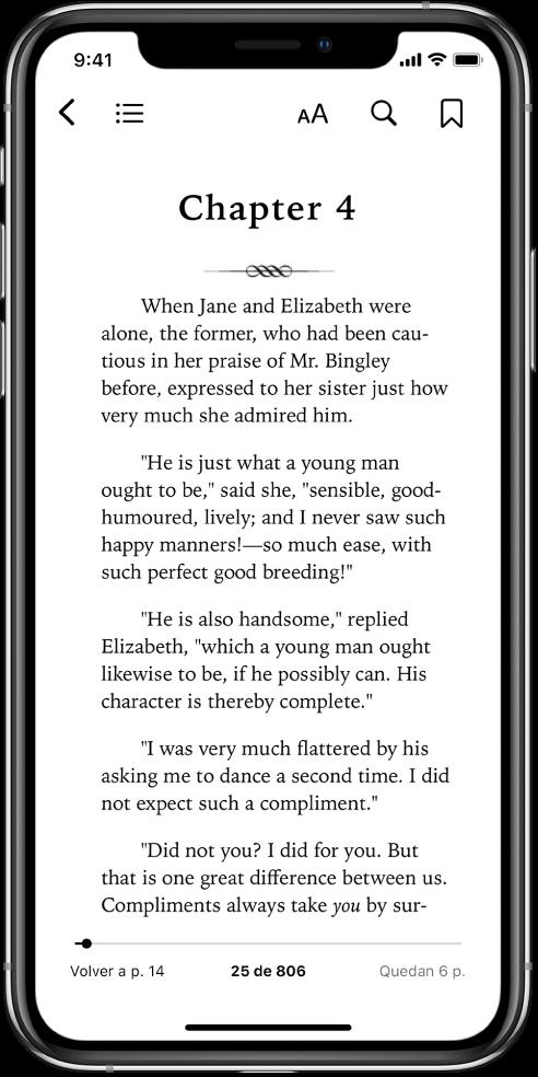 Página de un libro abierto en la app Libros. En la parte superior de la pantalla, de izquierda a derecha, se muestran botones para cerrar el libro, ver el índice, cambiar el texto, buscar y poner marcadores. Hay un regulador en la parte inferior de la pantalla.