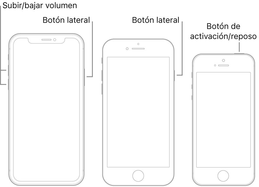Ilustraciones de tres tipos de modelos de iPhone, todos con las pantallas mirando hacia arriba. La ilustración de la izquierda muestra los botones de subir y bajar volumen en la parte izquierda del dispositivo. El botón lateral se muestra a la derecha. La ilustración central muestra el botón lateral en la parte derecha del dispositivo. La ilustración de la derecha muestra el botón de activación/reposo en la parte superior del dispositivo.