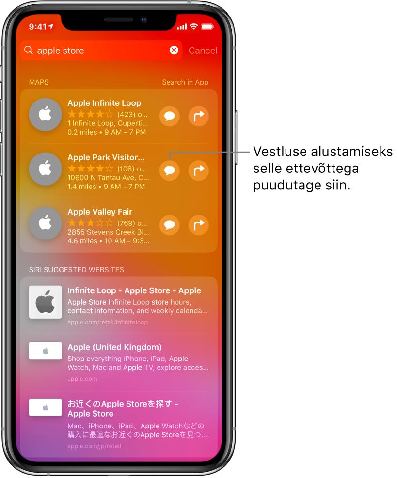 Kuva Search, kus on toodud Apple Store'i jaoks leitud vasted rakendustest App Store, Maps ja Websites. Iga üksuse juures on lühikirjeldus, hinnang (või aadress) ning iga veebisaidi URL. Esimese üksuse juures on nupp, millega saab alustada vestlust Apple Store'iga.