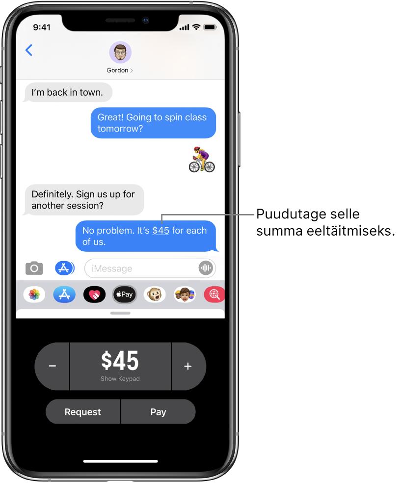 iMessage'i vestlus, kus all on avatud rakendus Apple Pay.