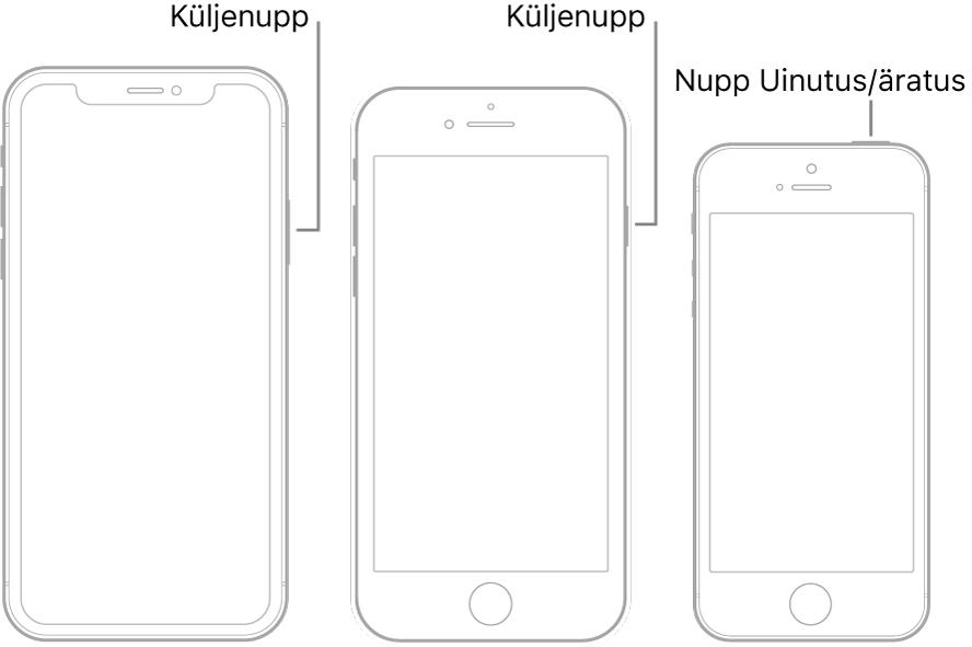 Kolme erineva iPhone'i mudeli küljenupp või nupp Uinutus/äratus.