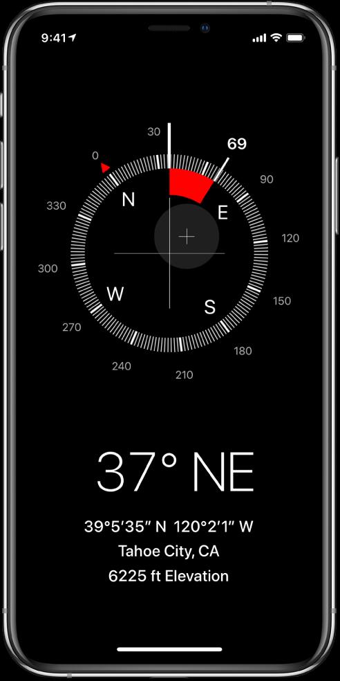 Rakenduse Compass kuva, milles on iPhone'i suund, teie hetkeasukoht ja kõrgus.