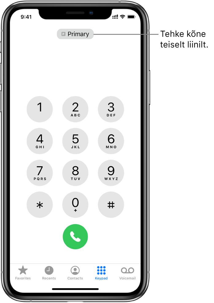 Rakenduse Phone klahvistik. Ekraani allaosas asuvad vahekaardid (vasakult paremale) Favorites, Recents, Contacts, Keypad ja Voicemail.
