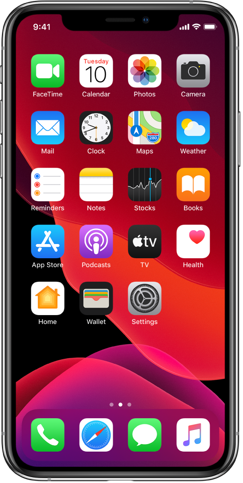 iPhone'i Home-kuva sisselülitatud režiimiga Dark Mode.