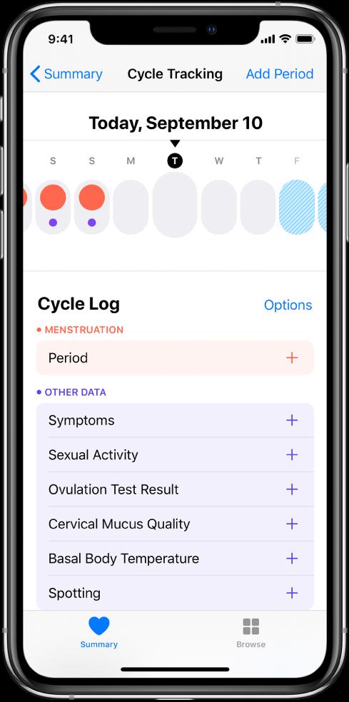 Kuva Cycle Tracking, mille ekraani ülaservas on nädala ajaskaala. Katkematud punased ringid tähistavad kolme esimest päeva ning kaks viimast päeva on helesinised. Ajaskaala all on valikud teabe lisamiseks tsükli, sümptomite jm kohta.