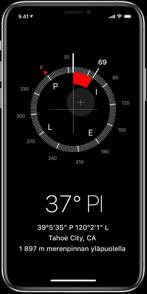 Kompassi-näkymä, joka kertoo, mihin suuntaan iPhone osoittaa, mikä on nykyinen sijainti ja kuinka korkealla ollaan.