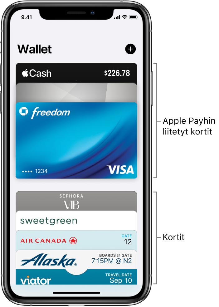 Wallet-näkymä, jossa näkyy useiden luotto- ja pankkikorttien sekä muiden korttien yläosat.