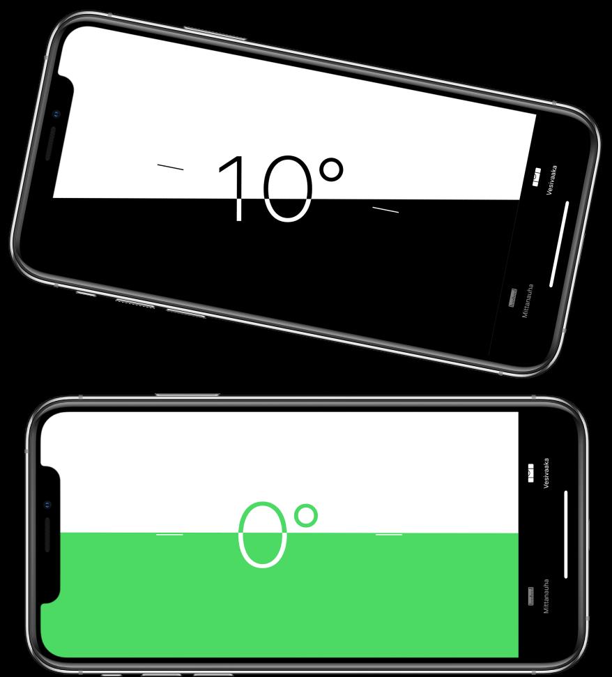 Vesivaakanäkymä. Ylhäällä iPhone on kallistettuna kymmenen asteen kulmaan. Alhaalla iPhone on täysin vaakasuorassa.