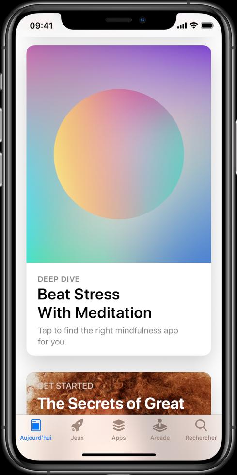 L'écran de l'AppStore avec l'onglet Aujourd'hui sélectionné en bas de l'écran. Au milieu de l'écran se trouve un article intitulé «Deep Dive, Beat Stress with Meditation».