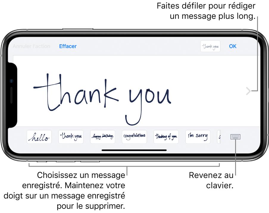 L'écran de message manuscrit, présentant un message manuscrit. En bas et de gauche à droite sont présents des messages enregistrés et le bouton Afficher le clavier.
