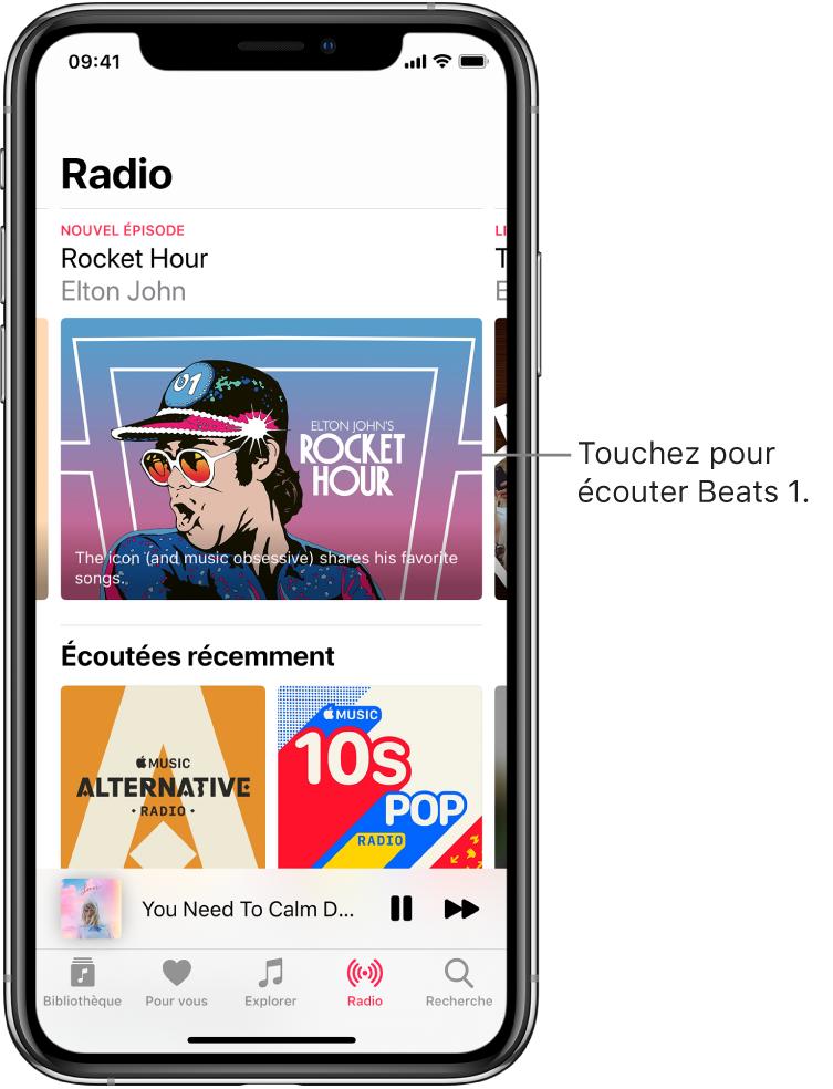 L'écran Radio présentant Beats1 en haut. Les entrées écoutées récemment apparaissent dessous.