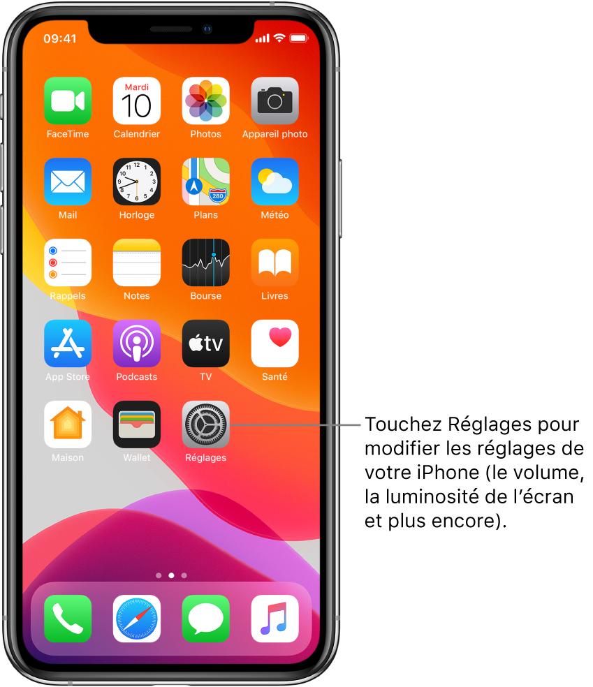 L'écran d'accueil avec plusieurs icônes, notamment l'icône Réglages, que vous pouvez toucher pour modifier le volume, la luminosité de l'écran et d'autres réglages de votre iPhone.