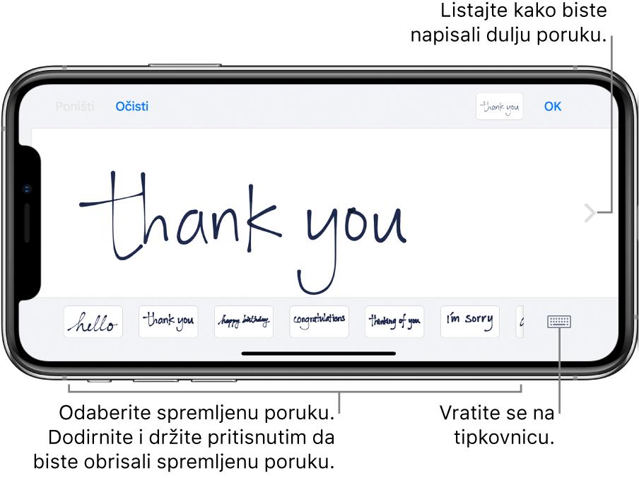 Zaslon za pisanje rukom i poruka pisana rukom. Pri dnu zaslona s lijeva na desno nalaze se spremljene poruke i tipka Prikaži tipkovnicu.