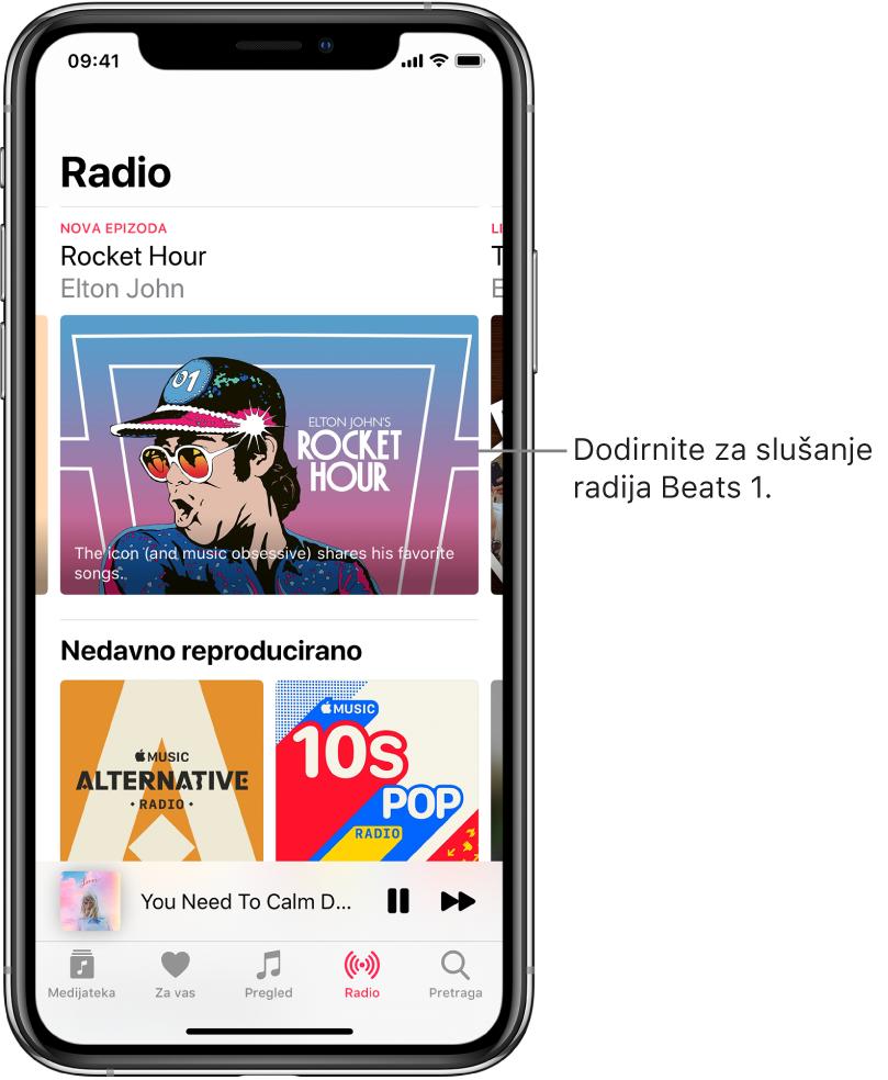 Zaslon radija s prikazom Beats1 radija na vrhu. Nedavno reproducirani unosi pojavljuju se ispod.
