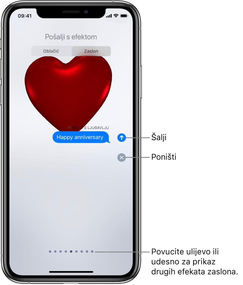 Pregled poruke s efektom preko cijelog zaslona s crvenim srcem.
