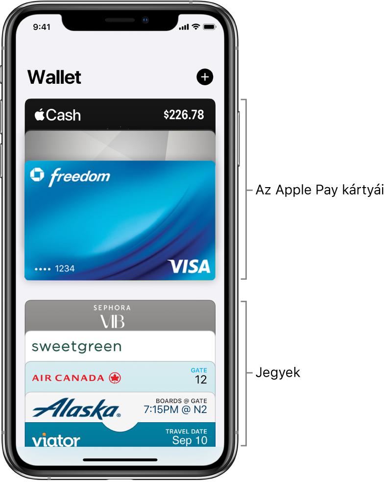 A Wallet képernyője, számos hitel- és bankkártya, valamint jegy előlapjával.