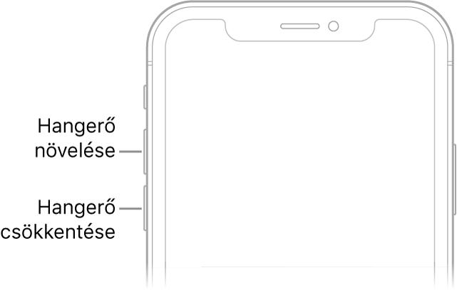 Az iPhone előlapjának felső része, amelynek bal felső részén található a hangerőnövelő és a hangerőcsökkentő gomb.