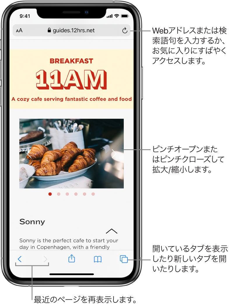 Safariのウインドウで開いたWebサイト。上部にアドレスフィールドが表示されています。下部には左から順に、戻る、進む、共有、ブックマーク、ページボタンがあります。
