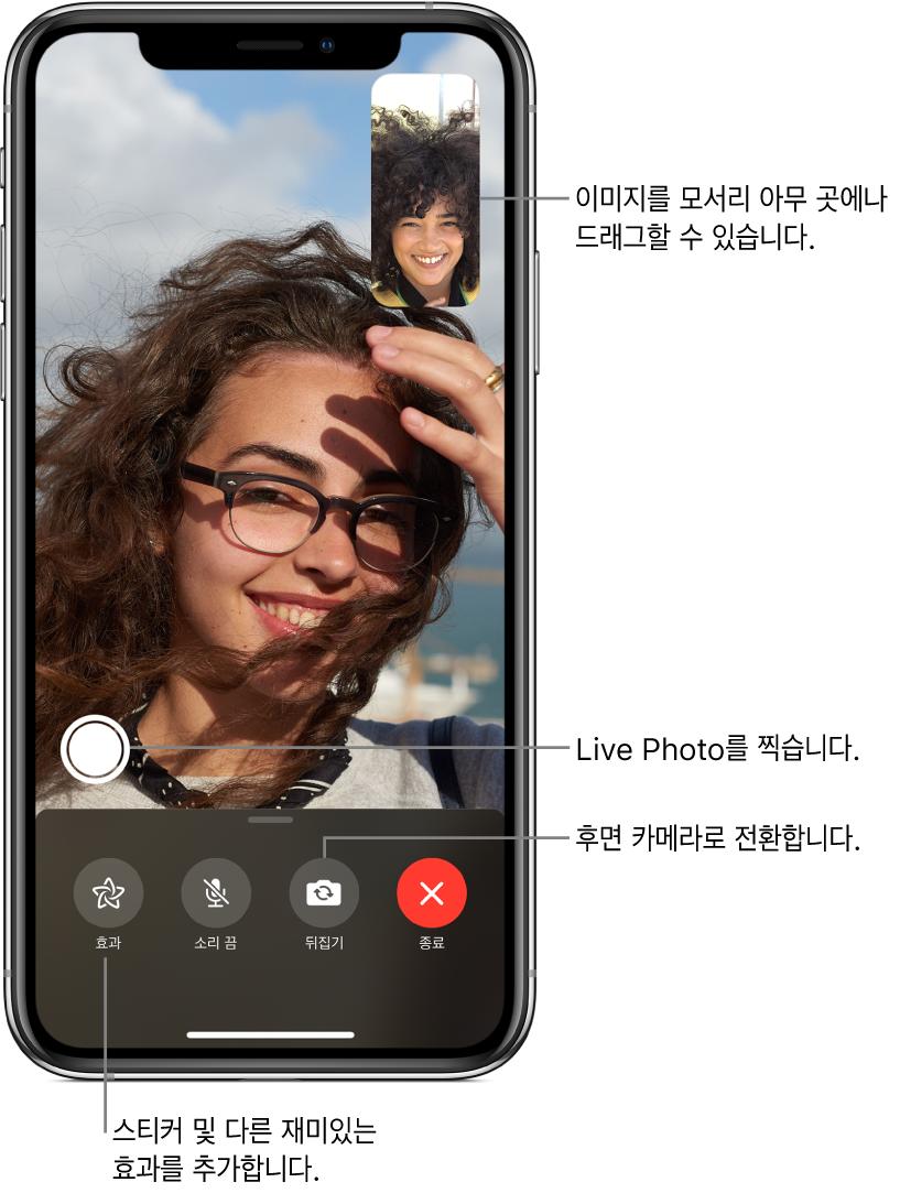 현재 진행 중인 통화를 표시하는 FaceTime 화면. 오른쪽 상단의 작은 사각형에 사용자의 이미지가 나타나며 다른 사람의 이미지가 나머지 화면을 채움. 화면 하단에는 효과, 소리 끔, 뒤집기 및 종료 버튼이 나열되어 있음. LivePhoto 찍기 버튼이 그 위에 있음.