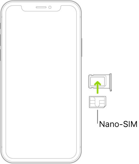 iPhone의 트레이에 각진 모서리를 오른쪽 상단으로 놓고 Nano-SIM을 삽입하고 있음. .
