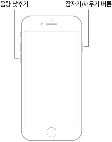 화면이 위로 향하는 iPhone 7 그림. 음량 낮추기 버튼이 기기 왼쪽에 있고 잠자기/깨우기 버튼이 오른쪽에 있음.