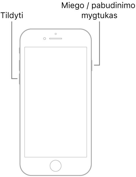 """""""iPhone 7"""" iliustracija su į viršų nukreiptu ekranu. Tildymo mygtukas parodytas kairėje įrenginio pusėje, o miego / pažadinimo mygtukas parodytas dešinėje."""