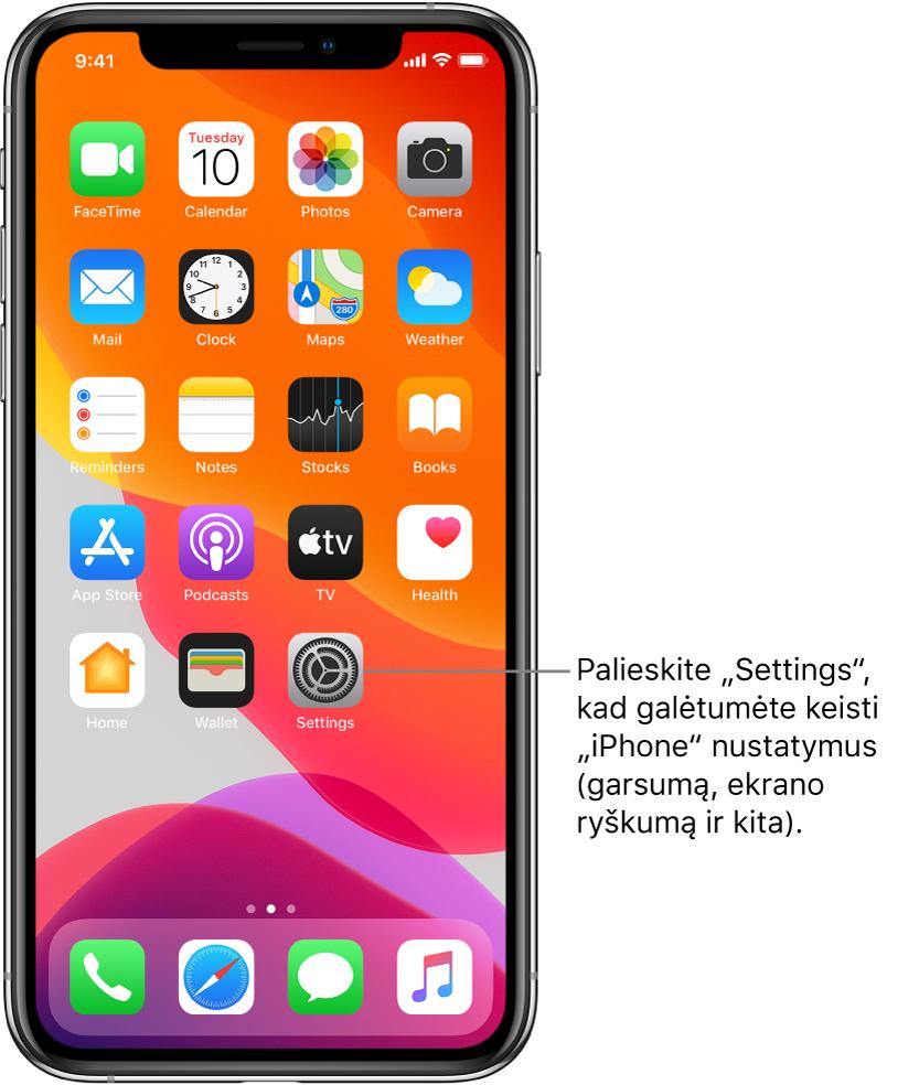 """Pradžios ekranas su keliomis piktogramomis, įskaitant piktogramą """"Settings"""", kurią palietę galite keisti """"iPhone"""" garsumą, ekrano ryškumą ir dar daugiau."""