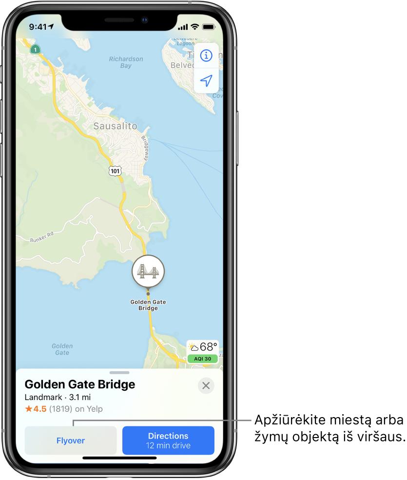 """San Francisko žemėlapis. Ekrano apačioje esančioje Auksinių vartų tilto informacijos kortelėje, mygtuko """"Directions"""" kairėje pusėje, rodomas mygtukas """"Flyover""""."""