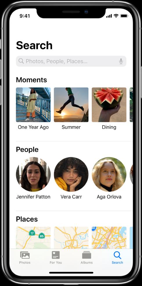 """Skirtukas """"Search"""", kuriame pateikti pasiūlymai, susiję su """"Moments"""", """"People"""" ir """"Places"""". Paieškos laukas yra viršuje."""