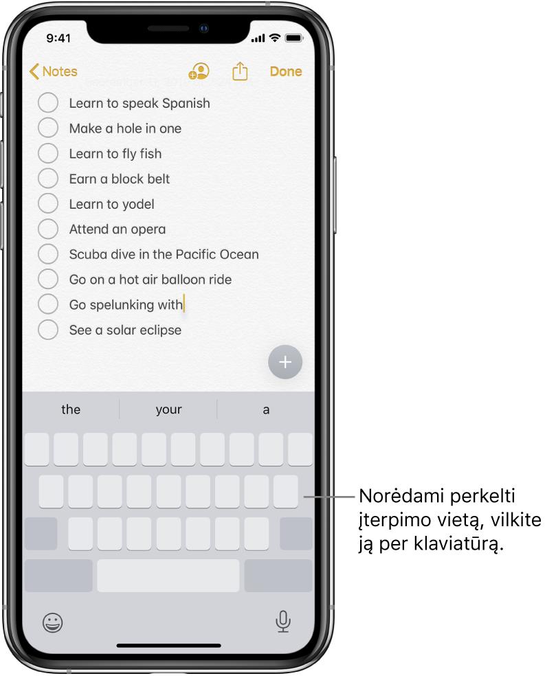 Redaguojamas užrašas klaviatūrą pakeitus jutikliniu pultu. Klaviatūra pritemdoma, taip nurodant, kad ji dabar veikia kaip jutiklinis pultas.